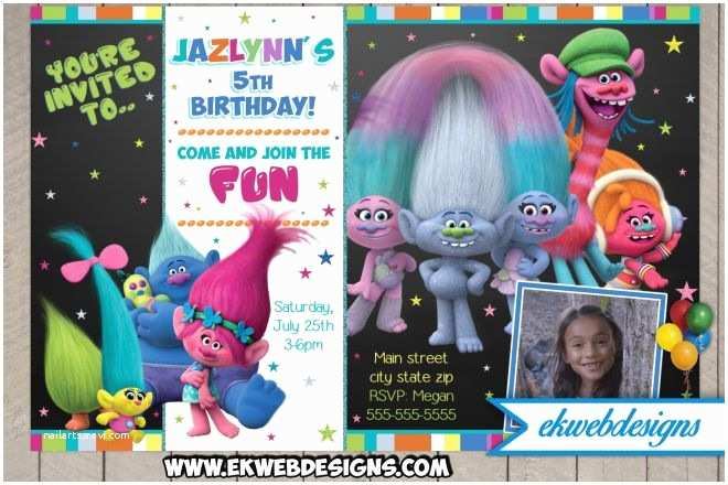 Trolls Party Invitations Trolls Birthday Party Invitations Trolls Movie New 2016