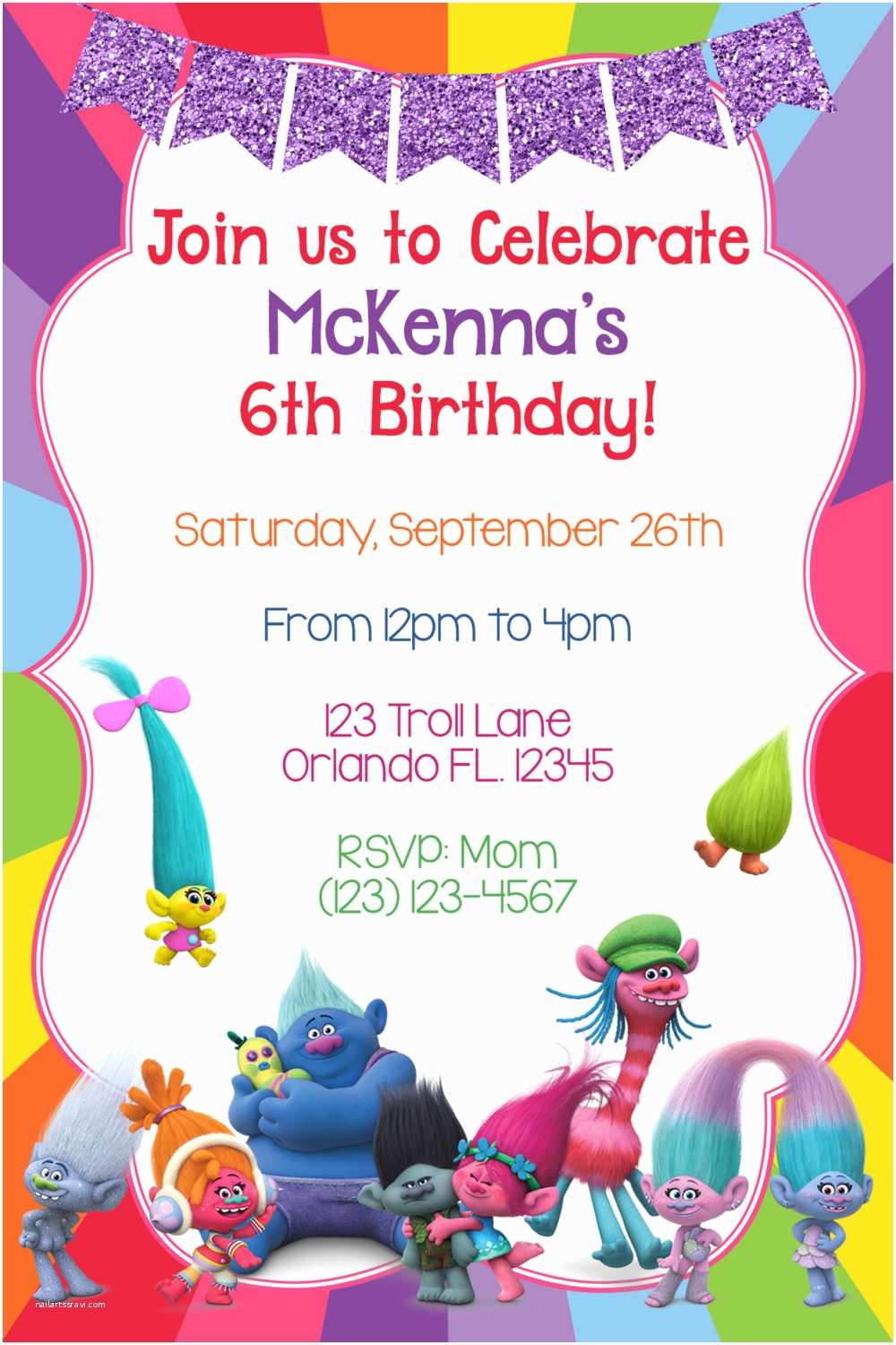 Trolls Party Invitations Trolls Invitation Trolls Birthday Troll Invites Dreamworks