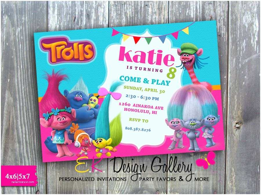 Trolls Party Invitations Trolls theme Birthday Party Invitation Printed