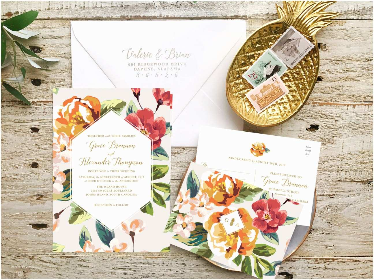 Tropical Wedding Invitations Destination Wedding Invitation Tropical Wedding by