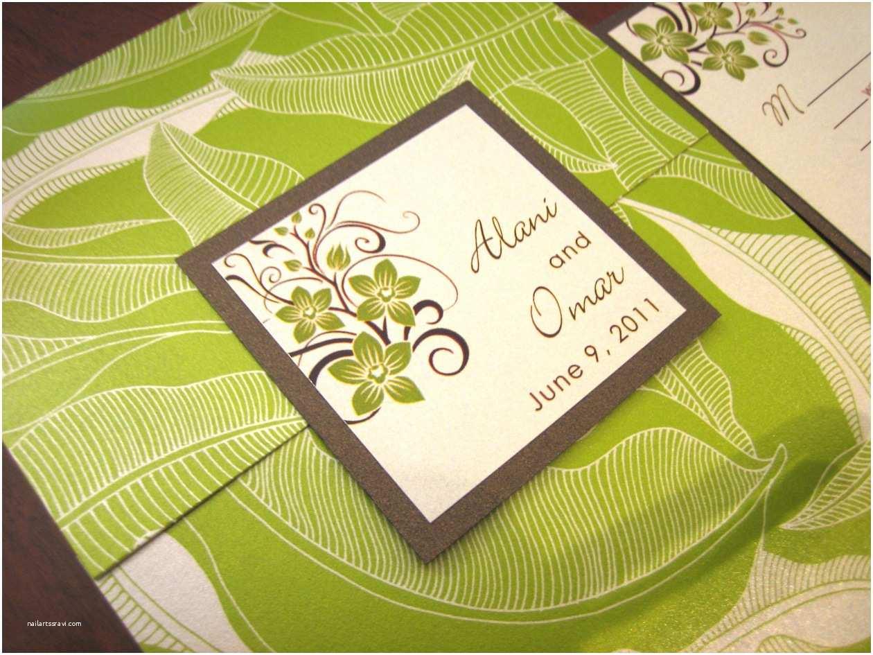 Tropical Wedding Invitations Green & Brown Tropical Wedding Invitation with orchids