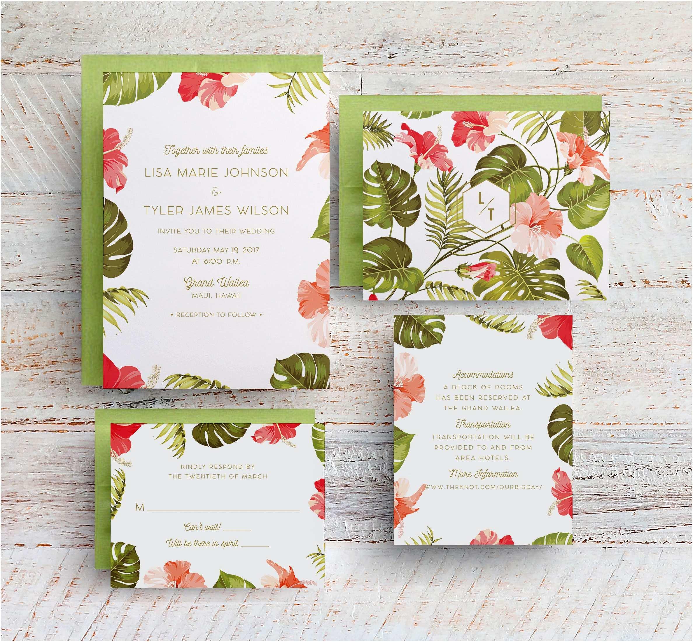 Tropical Wedding Invitations Tropical Wedding Invitations Hawaii Wedding Invitations