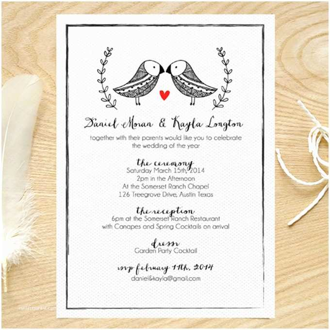 Truly Romantic Wedding Invitations Black and White Invite with Bird Motif