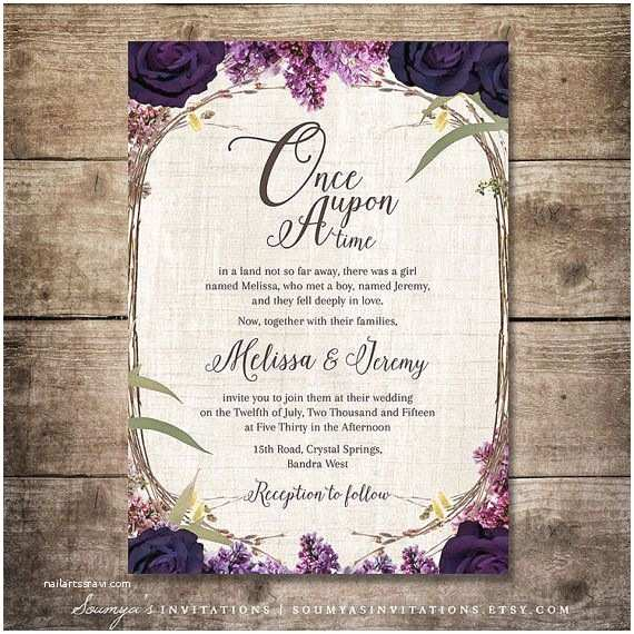 Truly Romantic Wedding Invitations Purple Wedding Invitation Fairy Tale Invitation