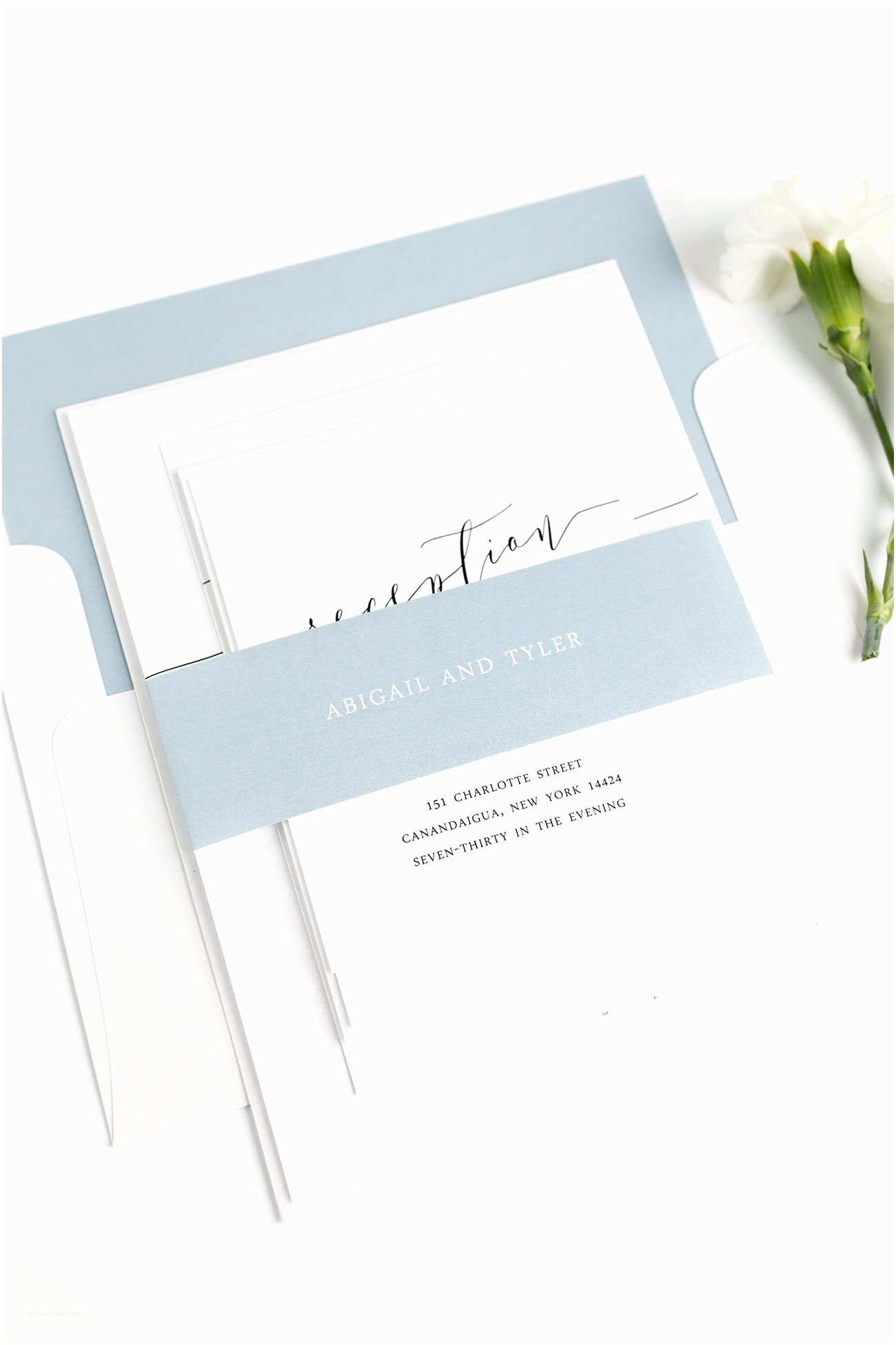 Truly Romantic Wedding Invitations Romantic Calligraphy Wedding Invitations In Dusty Blue