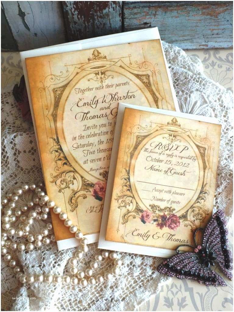 Truly Romantic Wedding Invitations Romantic Vintage Wedding Invitation Suite Handmade by