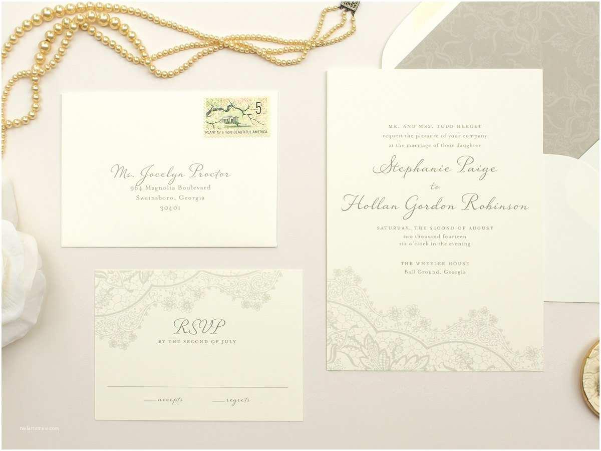 Truly Romantic Wedding Invitations Romantic Wedding Invitations Vintage Lace Invite Neutral