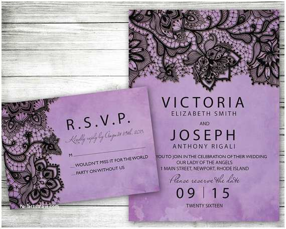 Truly Romantic Wedding Invitations Wedding Invitation Purple Black Lace Printable Invite