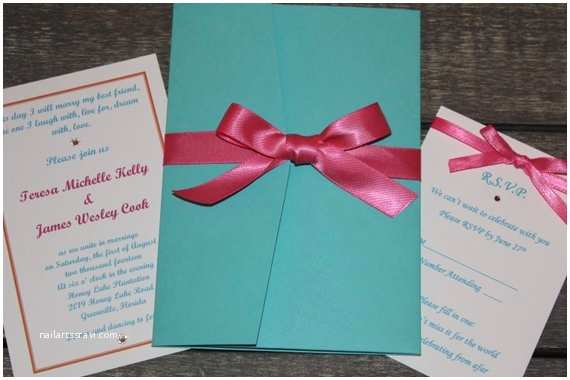 Turquoise and Hot Pink Wedding Invitations Aqua Blue and Hot Pink Wedding Invitations by Luckynlovedesignco