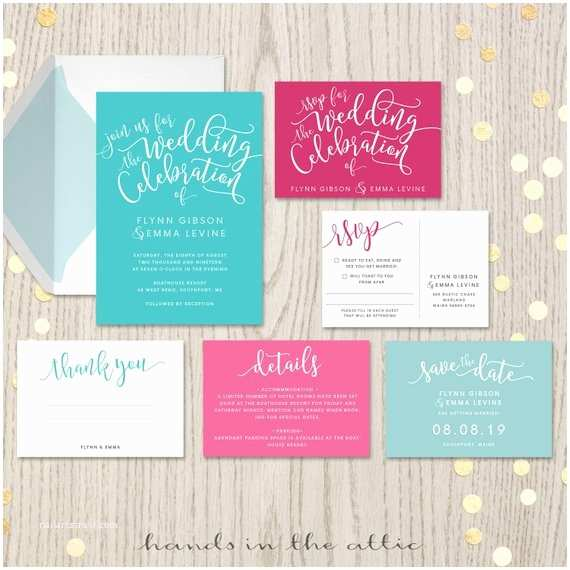 Turquoise and Hot Pink Wedding Invitations Aqua Fuchsia Wedding Invitation Sets Suites Kits Turquoise Carribean Ocean Blue