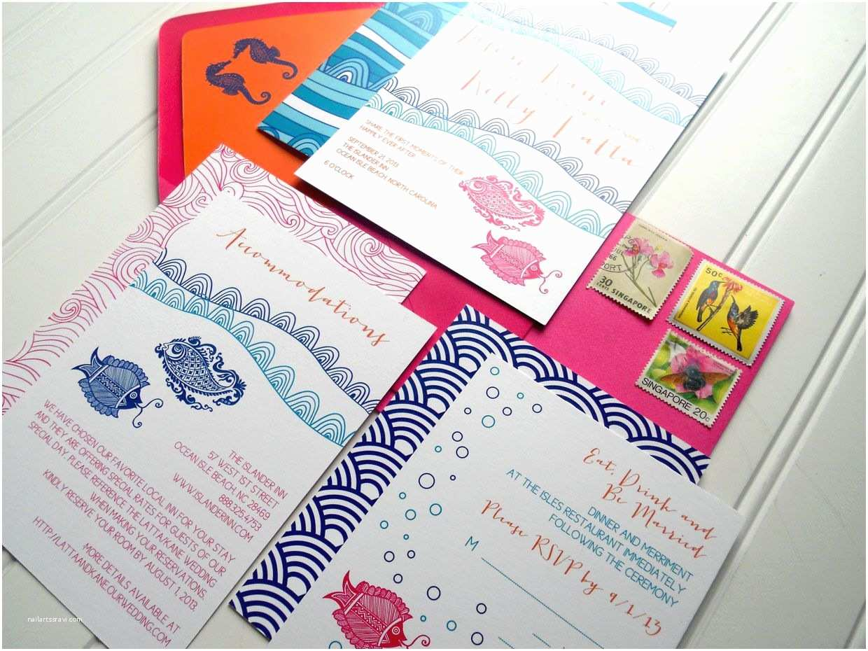 Turquoise and Hot Pink Wedding Invitations Colorful Tropical Fish Wedding Invitations Hot Pink Turquoise orange