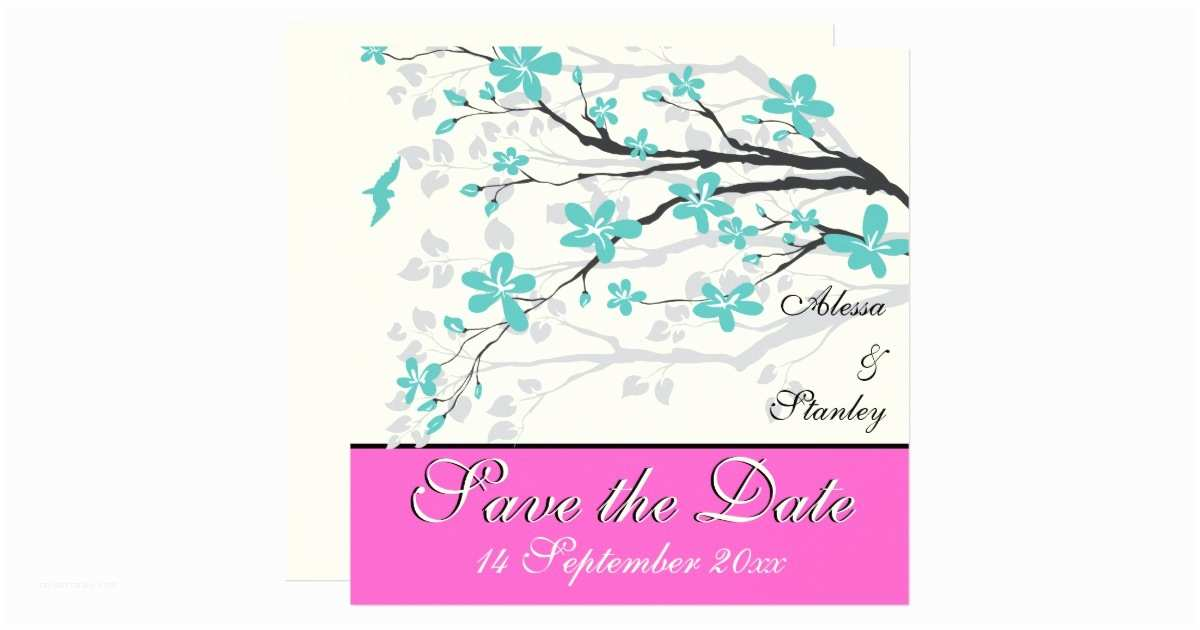 Turquoise and Hot Pink Wedding Invitations Flowers Turquoise Hot Pink Wedding Save the Date Card