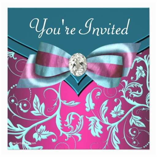 Turquoise And Hot Pink Wedding Invitations Fuchsia Hot Pink Teal Blue All Occasion Party 5 25x5 25 Square Paper Invitation
