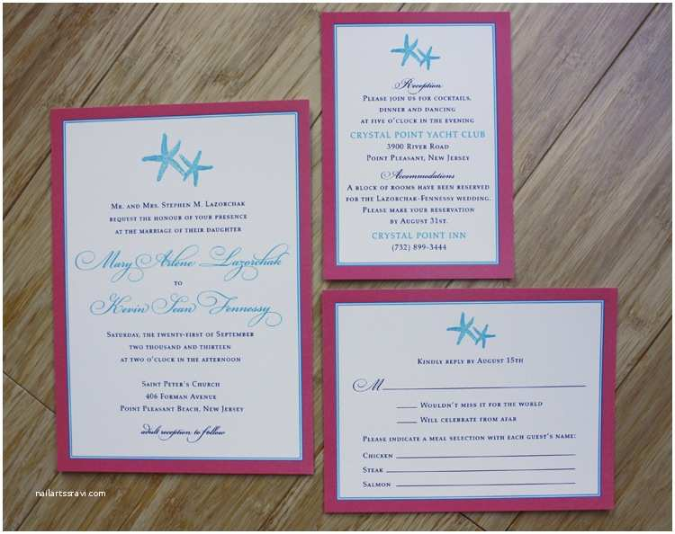 Turquoise and Hot Pink Wedding Invitations Fun & formal Coral & Turquoise Starfish Beach Wedding Invitations Emdotzee Designs