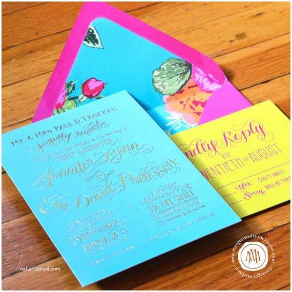 Turquoise and Hot Pink Wedding Invitations Hot Pink and Gold Wedding Invitations