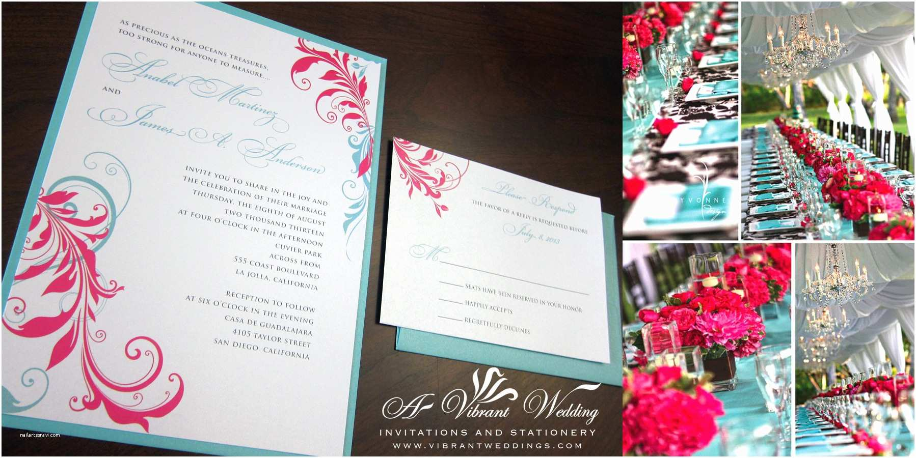 Turquoise and Hot Pink Wedding Invitations June 6 2013 – A Vibrant Wedding