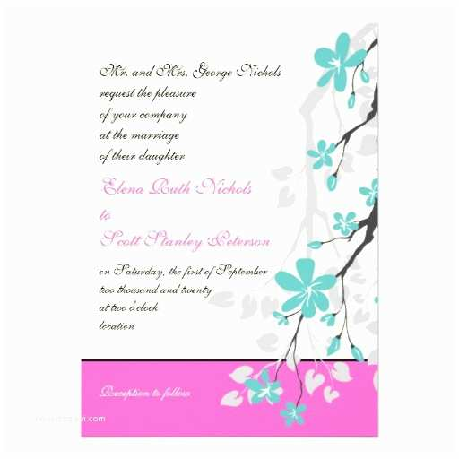 "Turquoise and Hot Pink Wedding Invitations Magnolia Flowers Turquoise Hot Pink Wedding 5"" X 7"" Invitation Card"