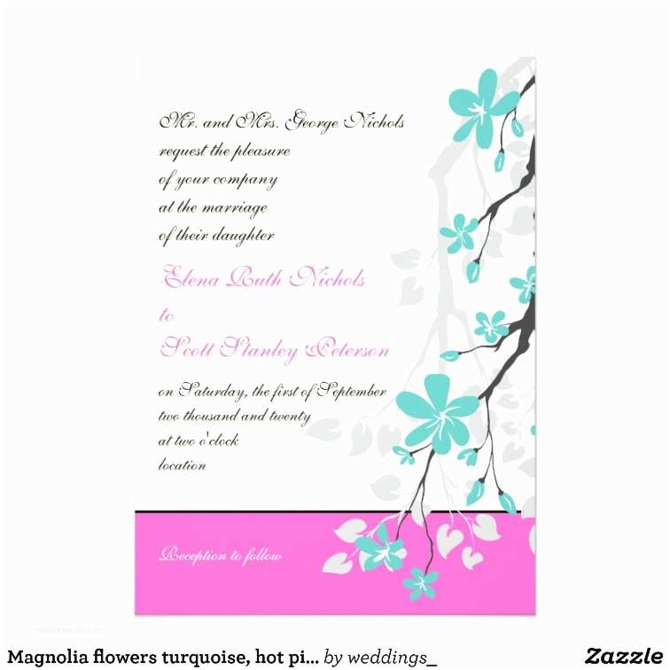 Turquoise and Hot Pink Wedding Invitations Magnolia Flowers Turquoise Hot Pink Wedding Card