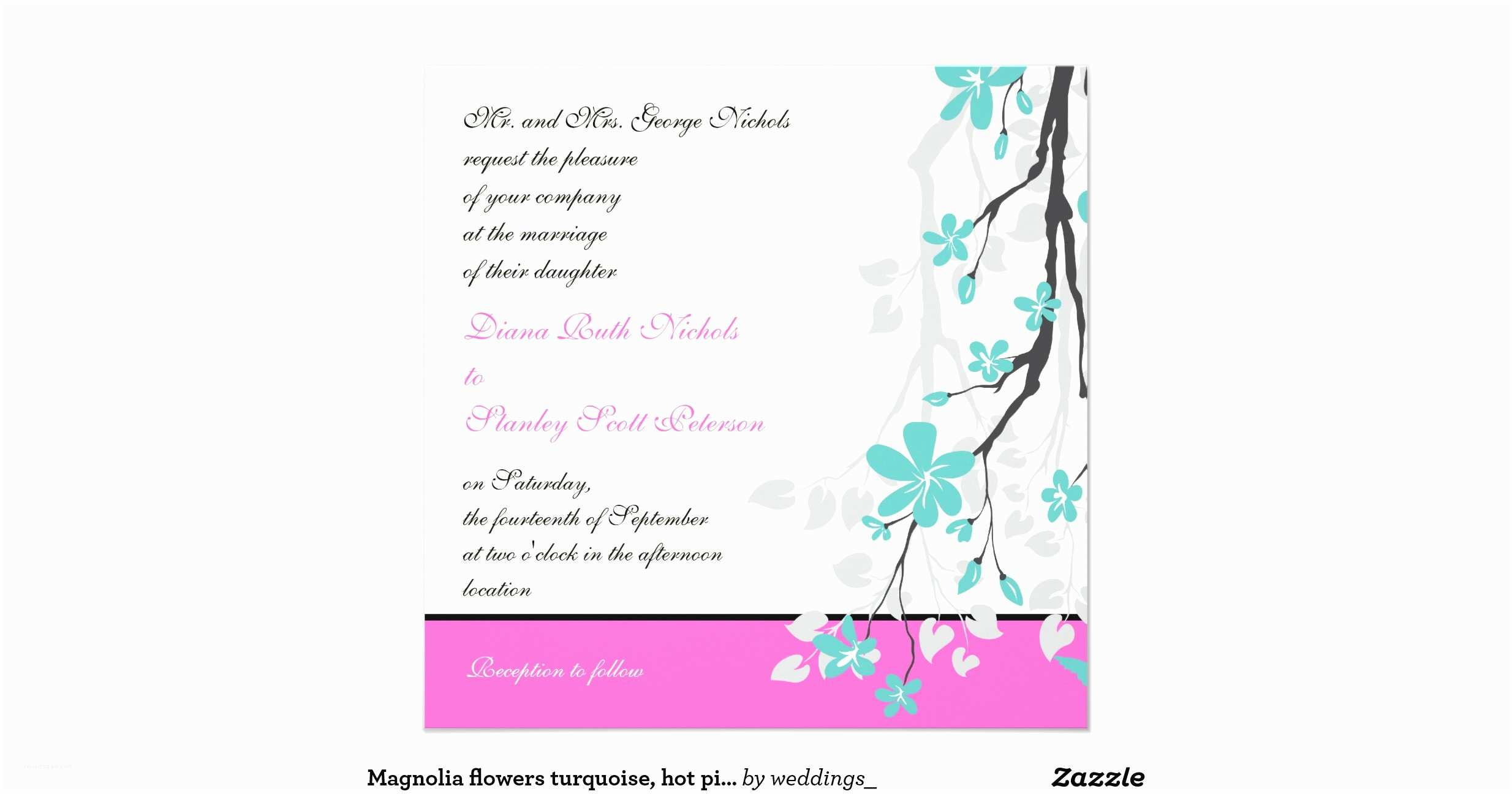 Turquoise and Hot Pink Wedding Invitations Magnolia Flowers Turquoise Hot Pink Wedding Invitation R57ec B04ab2af572f1e Zk9yv