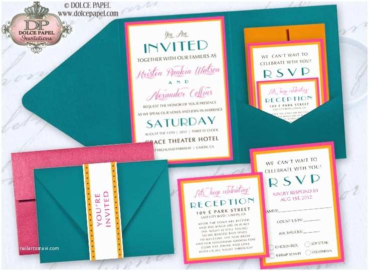Turquoise and Hot Pink Wedding Invitations Miami Style Teal Turquoise Hot Pink and orange Belly Band Pocket Wedding Invitations Set 5x7