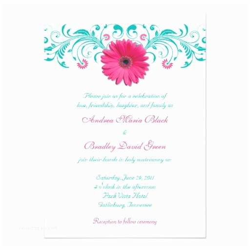 Turquoise and Hot Pink Wedding Invitations Pink Gerbera Daisy Turquoise Floral Wedding 5x7 Paper Invitation Card