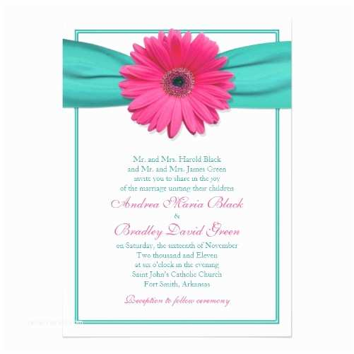 Turquoise and Hot Pink Wedding Invitations Pink Gerbera Daisy Weddings Shop Wasootch