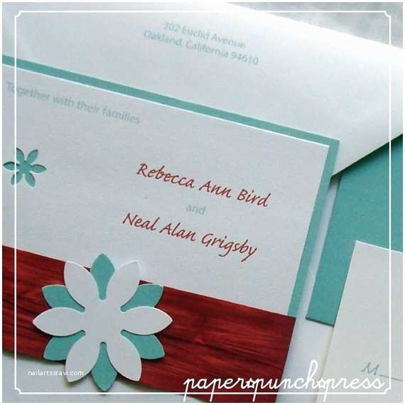 Turquoise and Hot Pink Wedding Invitations Red and Turquoise Daisy Motif Wedding Invitation Ensemble