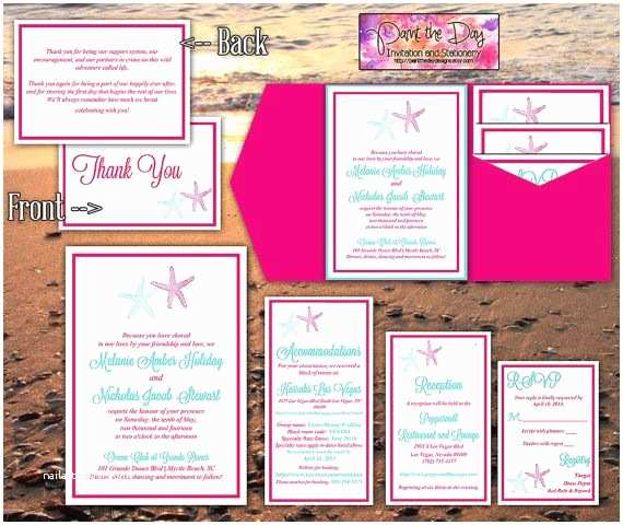 Turquoise and Hot Pink Wedding Invitations Starfish Wedding Pocketfold Template Beach Wedding Invitation Hot Pink Light Turquoise