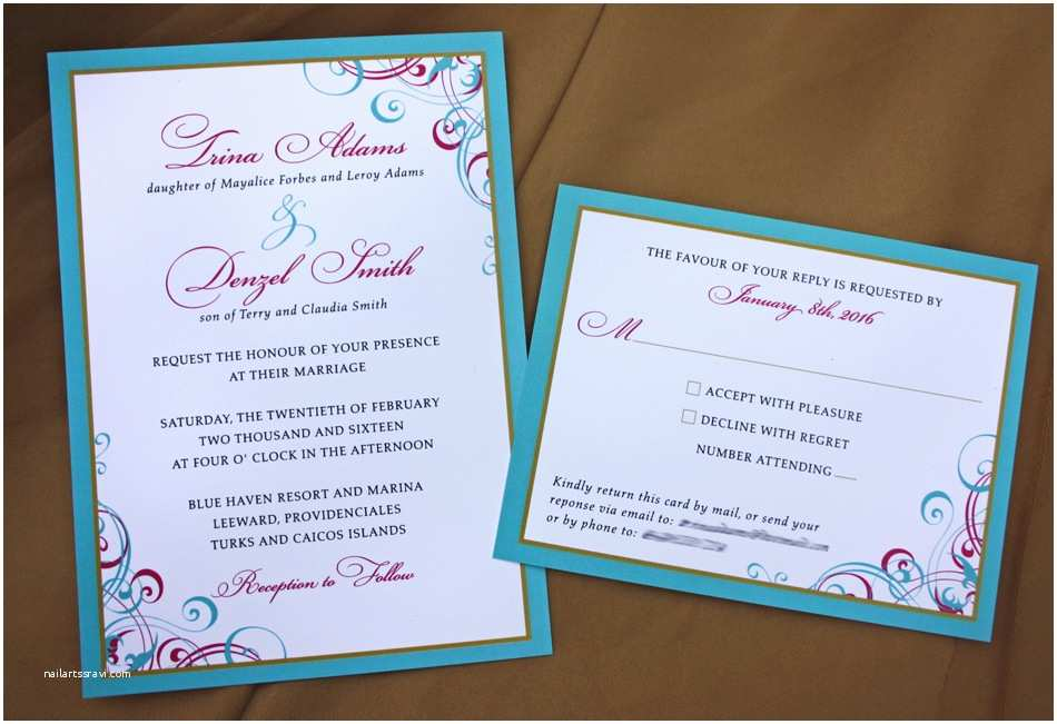 Turquoise And Hot Pink Wedding Invitations Swirls And Scrolls Archives Page 2 Of 43 Emdotzee
