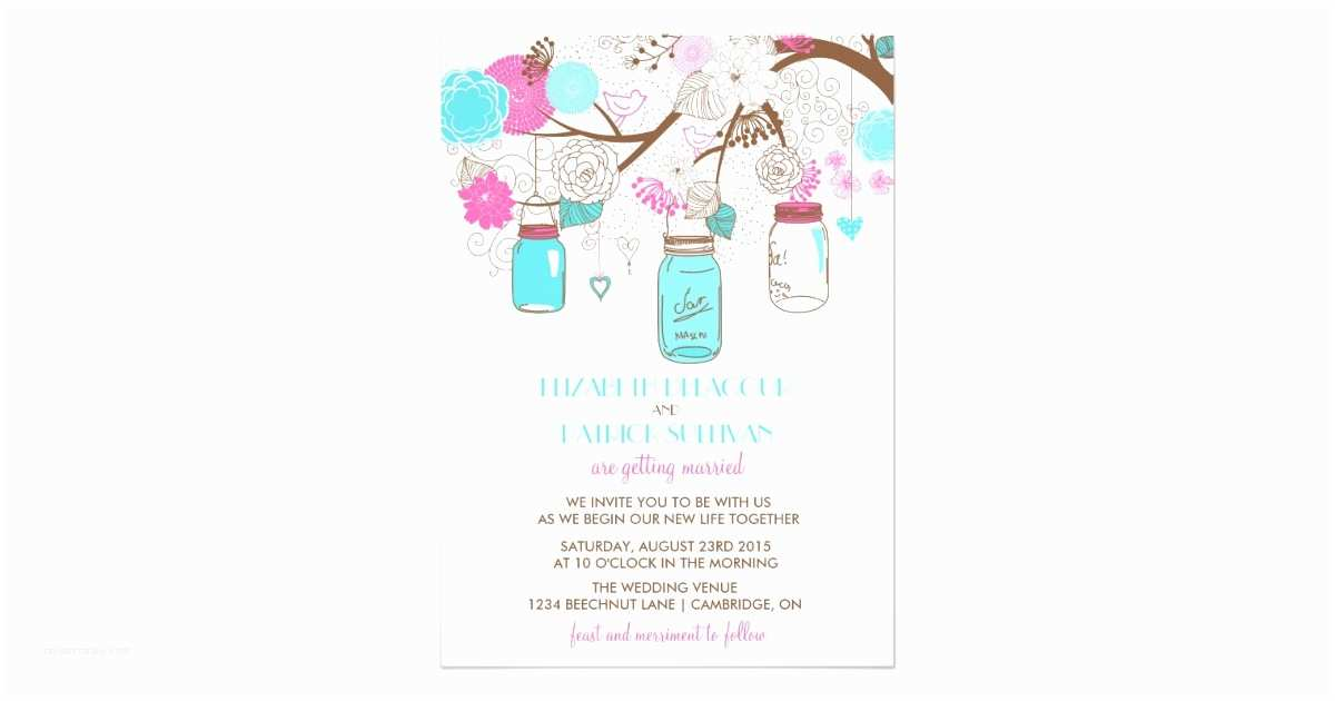 Turquoise and Hot Pink Wedding Invitations Turquoise & Hot Pink Mason Jars Wedding Invitation