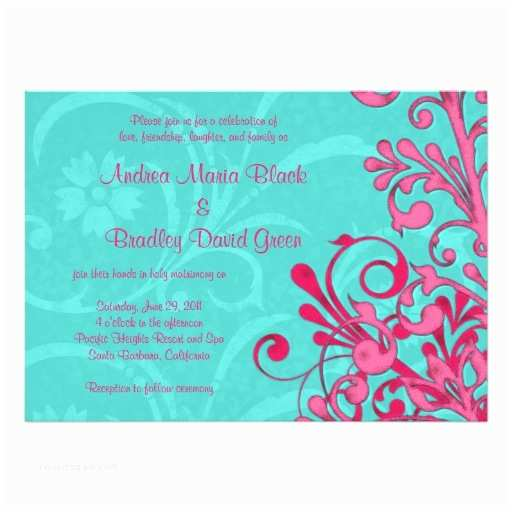 Turquoise and Hot Pink Wedding Invitations Turquoise and Pink Floral Wedding Invitation