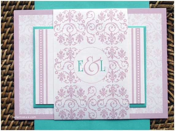 Turquoise and Hot Pink Wedding Invitations Turquoise Wedding Invitation Set Romantic Pink Wedding