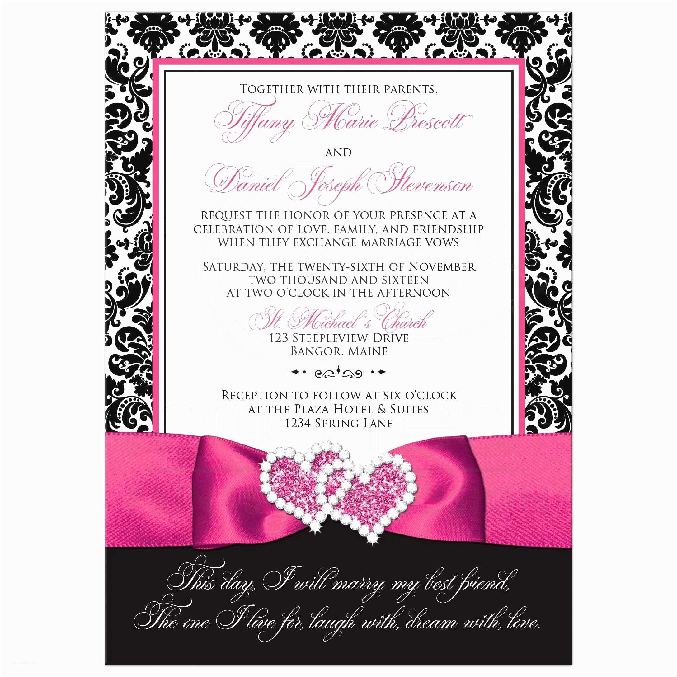 Turquoise and Hot Pink Wedding Invitations Wedding Invitation Photo Optional Black and White Damask Printed Pink Ribbon