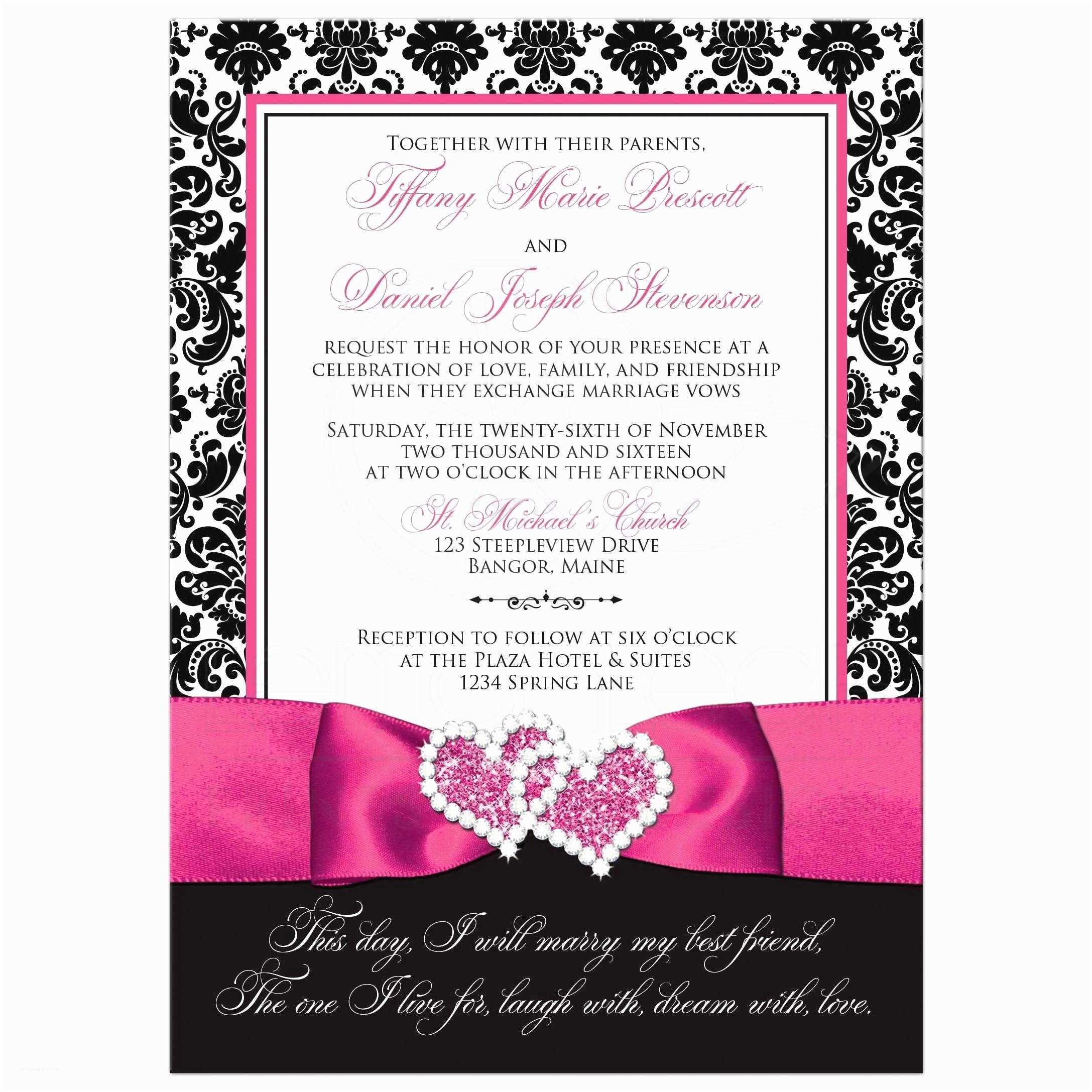 Turquoise And Hot Pink Wedding Invitations Wedding Invitation Photo Optional Black And White Damask Printed Pink