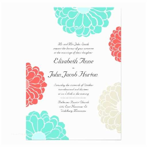 "Turquoise Wedding Invitations Turquoise & Coral Zinnia Flower Wedding Invitation 5"" X 7"