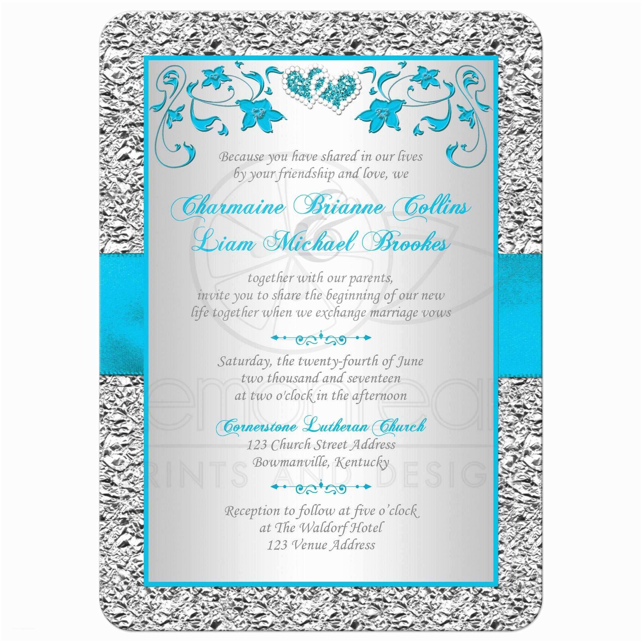 Turquoise Wedding Invitations Wedding Invitation Turquoise Silver Floral