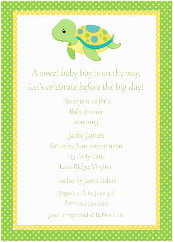 Turtle Baby Shower Invitations 17 Best Ideas About Turtle Baby Showers On Pinterest