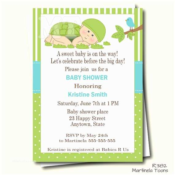 Turtle Baby Shower Invitations Green Turtle Baby Shower Invitation Turtle Baby Shower