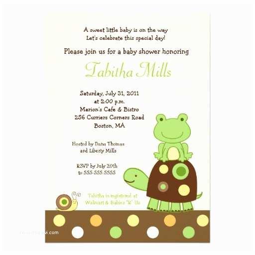 "Turtle Baby Shower Invitations Laguna Frog & Turtle 5x7 Baby Shower Invitation 2 5"" X 7"