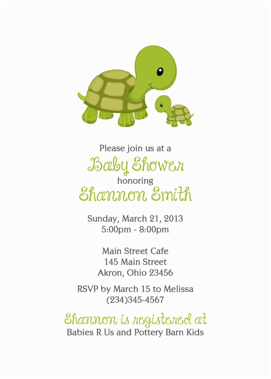 Turtle Baby Shower Invitations Turtle Baby Shower Birthday Invitations Custom Design
