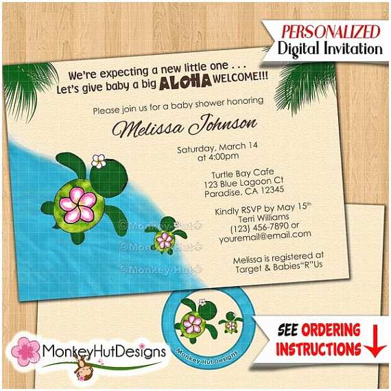 Turtle Baby Shower Invitations Turtle Baby Shower Invitations Honu Sea Turtles Beach Luau