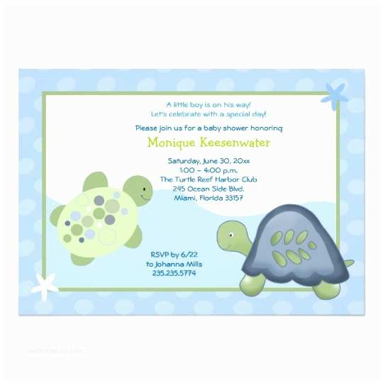 Turtle Baby Shower Invitations Turtle Reef Baby Shower Invitation Light Blue
