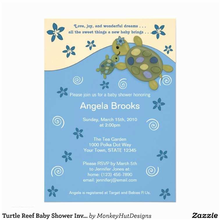 Turtle Baby Shower Invitations Turtle Reef Baby Shower Invitation Trc Blue Green
