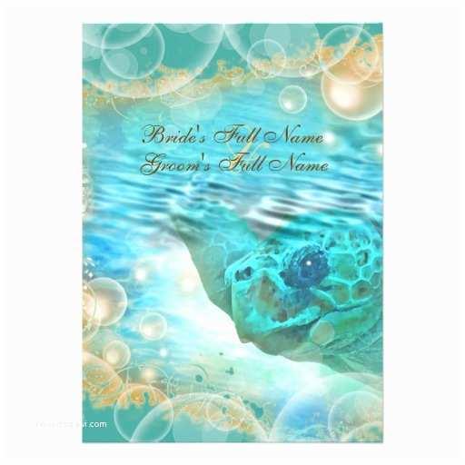 Turtle Wedding Invitations Beach theme Wedding Turtle Blue 5x7 Paper Invitation Card