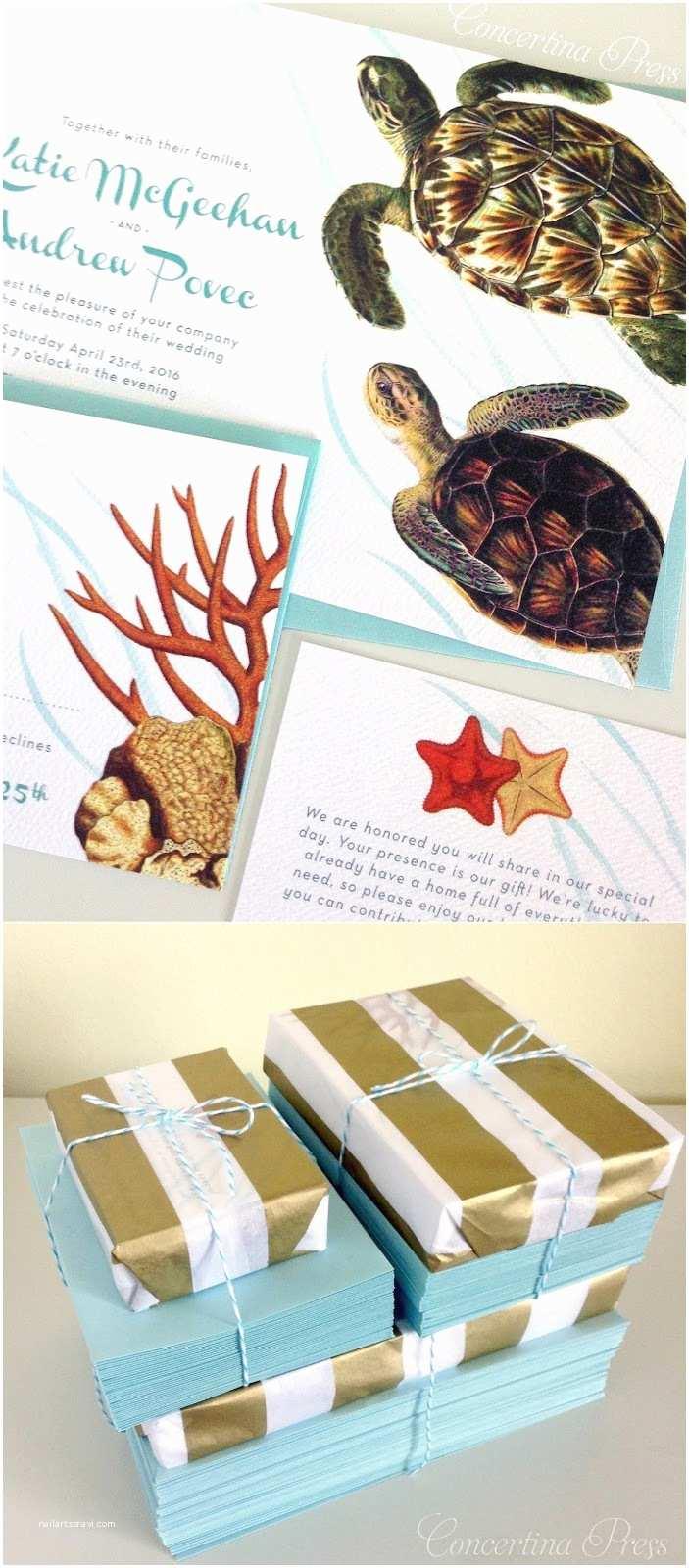 Turtle Wedding Invitations Concertina Press Stationery And Invitations