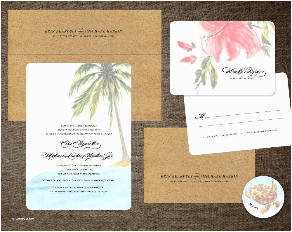 Turtle Wedding Invitations Palm Tree Wedding Invitations Hibiscus Hawaii Turtle Beach
