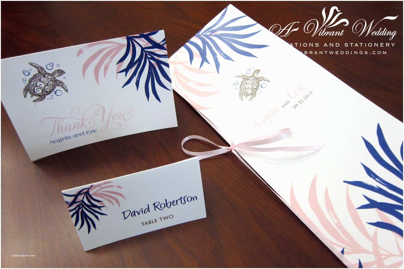 Turtle Wedding Invitations Place Cards – A Vibrant Wedding