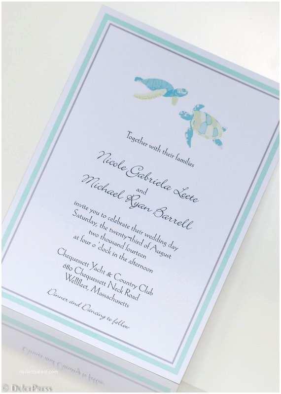 Turtle Wedding Invitations Sea Turtle Design Wedding Invitation Pocketfold Invitation