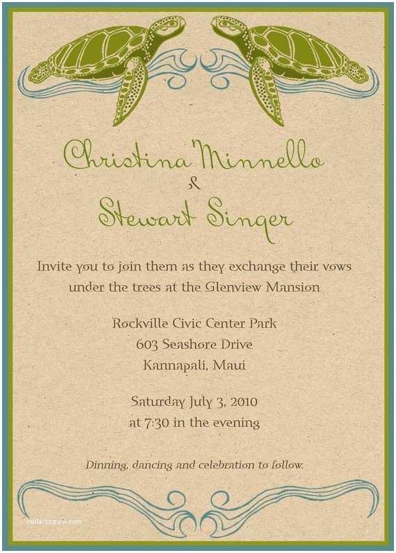 Turtle Wedding Invitations Sea Turtle Invites Party And Wedding
