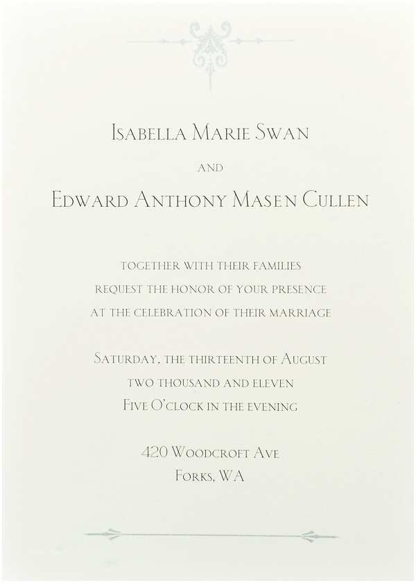 "Twilight Wedding Invitation the Wedding Invitation From ""breaking Dawn"" Twilight"